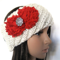 Ivory Winter White Knit Ear Warmer Headband Head Wrap with Red Chiffon Flowers and Rhinestone Accent