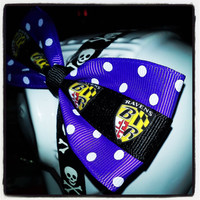 It's Baltimore Hon: Purple and White Polka Dot Hair Bow with Black Ravens Shield Center Stripe