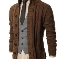 H2H Mens High Neck Twisted Knit Cardigan Sweater With Button Details