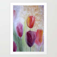 tulips Art Print by rysunki-malunki