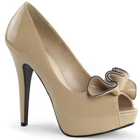 Cream Patent Leather Ruffle Peep Toe Lolita Heels