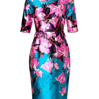 Prabal Gurung - Silk-Cotton Sheath Dress in Pink/Turquoise