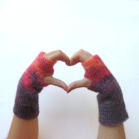 Fingerless gloves, Fingerless mittens, Crochet fingerless glove, arm warmers, purple fingerless gloves, pink fingerless gloves