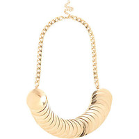 GOLD TONE LAYERED DISC STATEMENT CHOKER