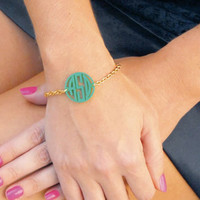 Custom Monogrammed Acrylic Bracelet Multiple Color Choices