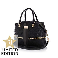 BLACK CHAIN EMBELLISHED QUILTED BOWLER BAG