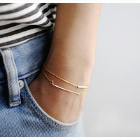 14k Gold Bracelets - Dainty Gold Bar & Gold Tube Bracelets - Set of Two - Holiday Gift - Simple Minimalist Everyday Jewelry LITTIONARY