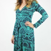 Turquoise & Navy Print Wrap Maxi Dress