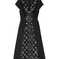Suno Neoprene Flare Dress - Black Dress with Crystals - ShopBAZAAR