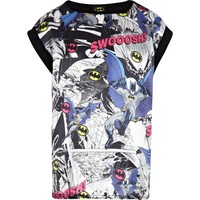 GIRLS BLACK BATMAN SWOOSH T-SHIRT