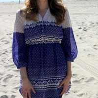 Purple & Beige Snowflake Print Tunic Dress