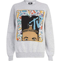GREY MTV AFRO PRINT SWEATSHIRT