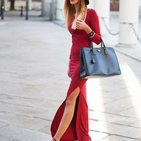 LOVE Ox Blood Twist Front Split Maxi