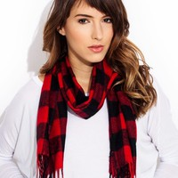Mad-Plaid-World-Fringe-Scarf BEIGEBLACK BEIGEBROWN NAVYBEIGE REDBLACK - GoJane.com