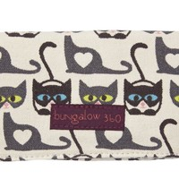 Bungalow 360 Large Vegan Canvas Clutch Wallet - Cats Print