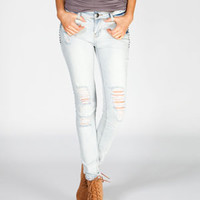 TINSELTOWN Stud Trim Womens Destructed Skinny Jeans