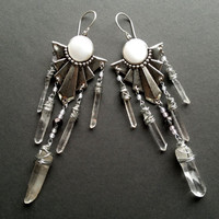 Shield of the Goddess- Raw Quartz Crystal Chandelier Earrings with Silver Shields and Vintage Beads