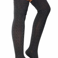 Cable-Knit-Thigh-High-Socks CHARCOAL NAVY - GoJane.com