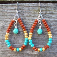 Southwestern Boho Teardrop Beaded Hoop Earrings