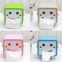 Creative cartoon smile face tissue box made with ABS, retail box packing napkin holder