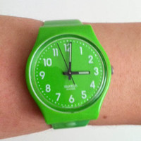 Vintage Bright Lime Green Summer Time Swatch Watch