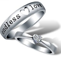 18K White Gold Plated Endless Love Couple Band Ring