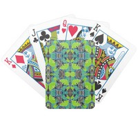 Art Deco Pattern - Tropical Greens and Blues Bicycle Poker Cards