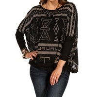 BlackWhite Tribal Dolman Top
