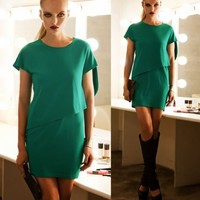 Womens Stylish Faux Twinset Asymmtrical Hem Top Solid Short Sleeve Shift Dresses