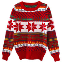 ROMWE | ROMWE Snows Print Colorful Stripe Red Jumper, The Latest Street Fashion