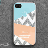 iPhone 4s case iPhone 4 case iPhone 5 case iPhone 5s case iPhone 5c case - geometric glitter chevron ( NOT ACTUAL GLITTER )