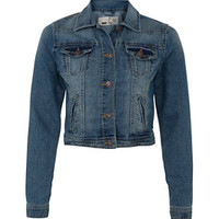 Mid Blue Washed Effect Denim Jacket