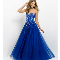 (PRE-ORDER) Pink by Blush 2014 Prom Dresses - Indigo Strapless Beaded Long Prom Gown