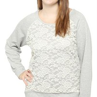 Plus Size Lace Front French Terry Top