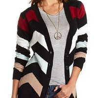 CHEVRON BUTTON-DOWN CARDIGAN