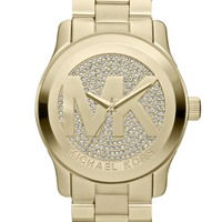Michael Kors Watch, Women's Runway Gold-Tone Stainless Steel Bracelet 45mm MK5706