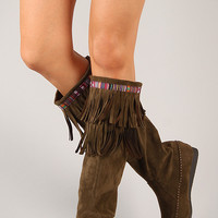 Sora-10 Suede Fringe Round Toe Knee High Flat Boot