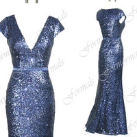 Mermaid Straps Sequined Long Navy Evening Gown, Sequined Long Prom Dresses, Evening Dresses, Wedding party Dresses, Formal Gown