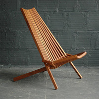 Teak Folding Slat Lounge Chair