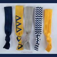 Delta Delta Delta Sorority Elastic Hair Ties - No Bump, Yoga Hair Ties, Tri Delta Blue Gold Chevron Hair Bands, Can choose colors