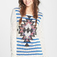 Woven Heart Graphic Burnout Sweater (Juniors) (Online Only) | Nordstrom