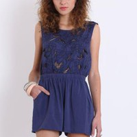 Garden Blues Open Back Romper - $45.00