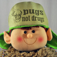 WarmFuzzy SALE Pugs not Drugs - Whimsically Fun Hat - Make a Statement without a word & Keep your Head Toasty too
