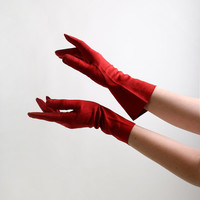 Vintage Red Leather Gloves - Italian Wrist Gloves