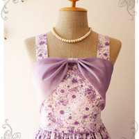 Floral Dress Bridesmaid Dress Party Dress Silk Chiffon Bow Curtain Vintage Style Purple Charming Dream Dress -Size XS, S, M, L, CUSTOM-