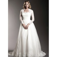 Long Lace Sleeve Sweetheart A-Line Wedding Dress