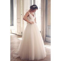 V-Neck Full Length Wedding Dress