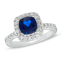 7.0mm Cushion-Cut Lab-Created Blue and White Sapphire Ring in Sterling Silver - Size 7