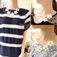 P4PM Sweet Korean Style White Daisy Flower Chain Lady Girl Necklace
