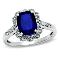 Cushion-Cut Lab-Created Sapphire Vintage-Style Ring in Sterling Silver -Size 7